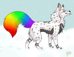 Foxy in the snow by EchoJellyMutt