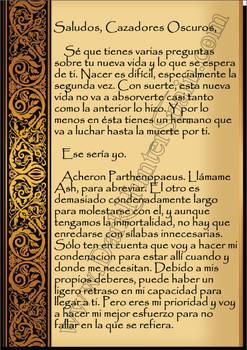 Pag 1 Carta Bienvenida de Aqueron Parthenopaeus