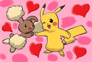 [Pokemon] Pikachu n' Buneary in love 2 by Frank-Seven