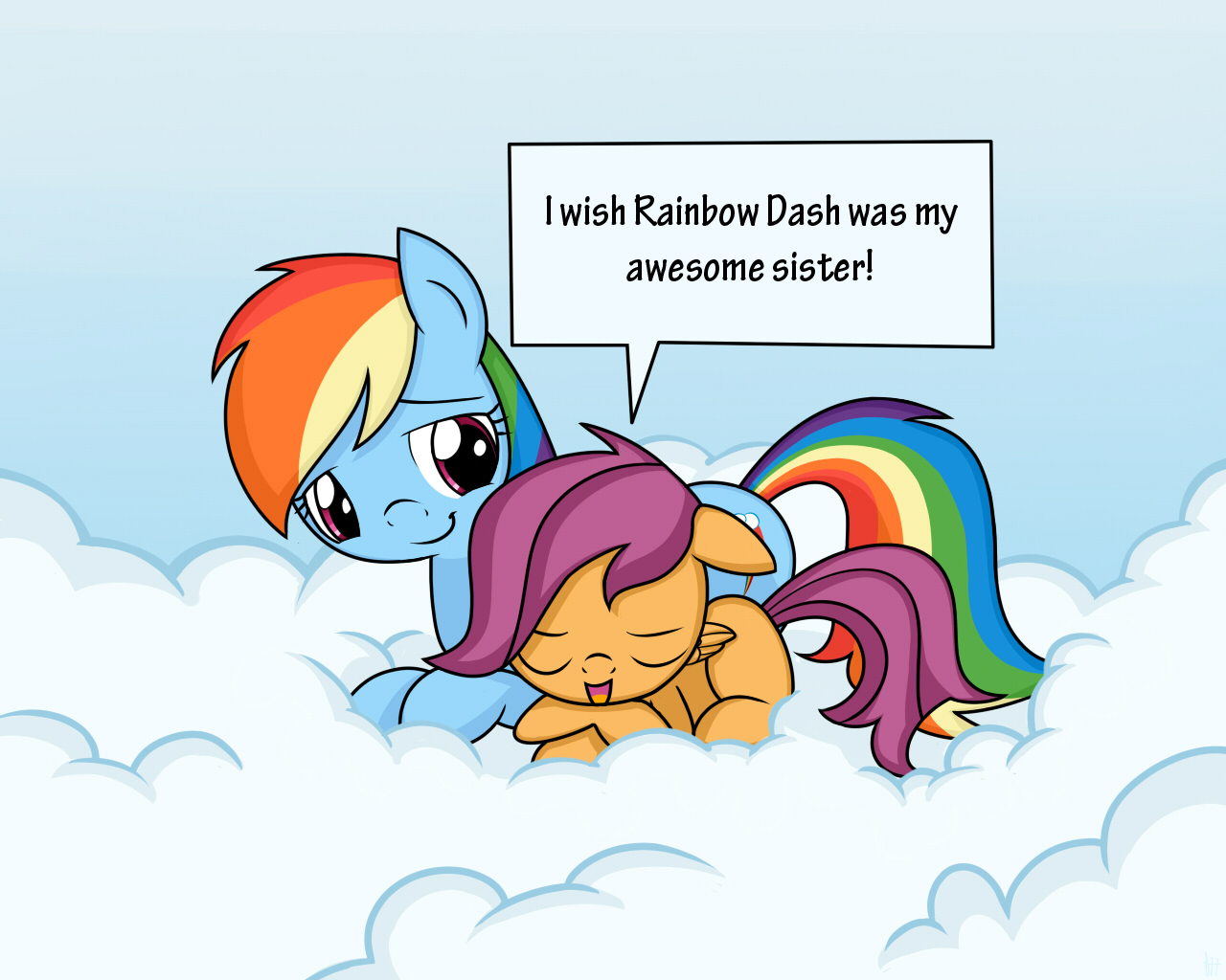 Request Rainbow Dash And Scootaloo By Frank Seven On Deviantart It soon turns out that the filly got into an argument with her aunts, and it's up rainbow dash and twilight decide to visit filthy rich and spoiled to stop the bullying towards scootaloo. request rainbow dash and scootaloo by