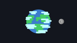 Earth and moon flat design