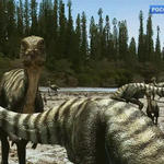 Qantassaurus And Timimus Flee by 2195Razielim
