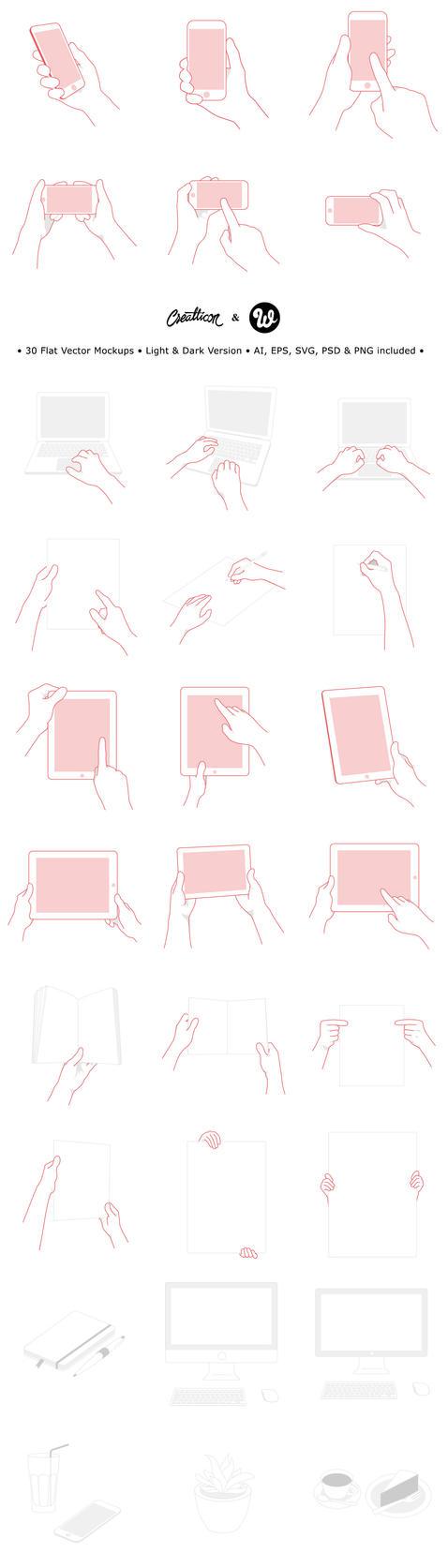 FREEBIE: 60 Flat Mockups on Webdesigner Depot by creatticon
