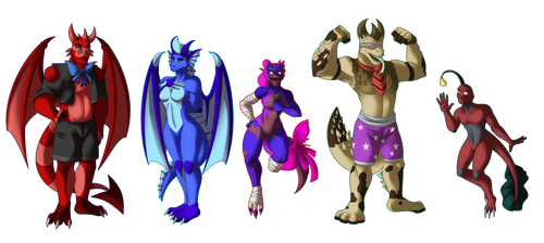 Commission- Wick, Delilah, Ellie, Luther and Roye by Rusty0