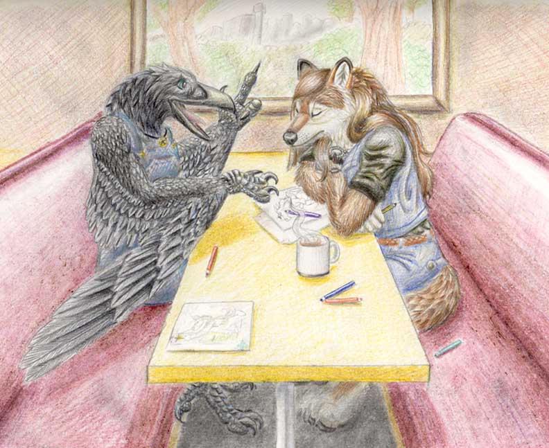 Tea at the Howling Moon Cafe by Nashoba-Hostina