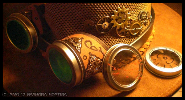 Steampunk Goggles and Interchangable Lenses by Nashoba-Hostina