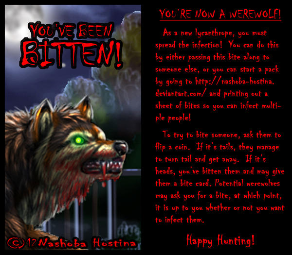 Werewolf Bite Card (One-card game!) by Nashoba-Hostina