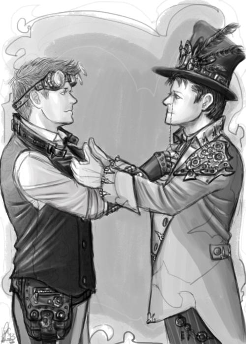 Steampunk Jensen and Misha by moloko-plus