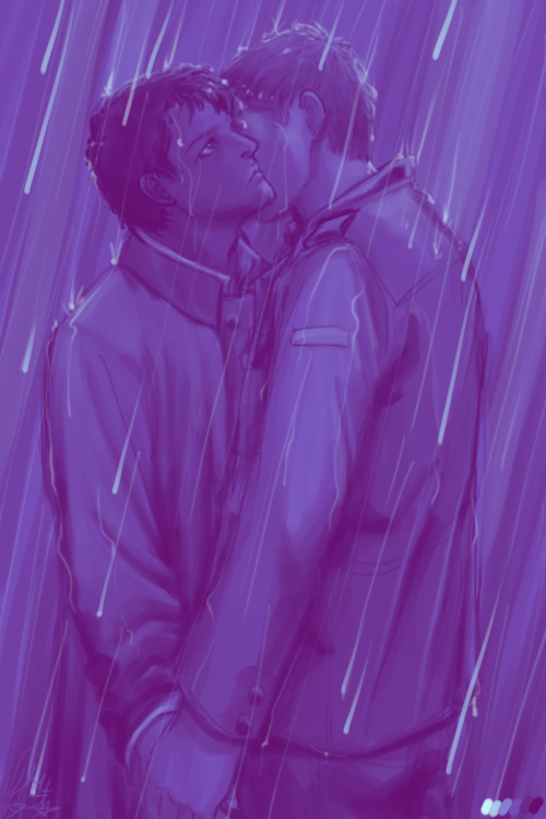 Dean/Castiel in the rain by moloko-plus