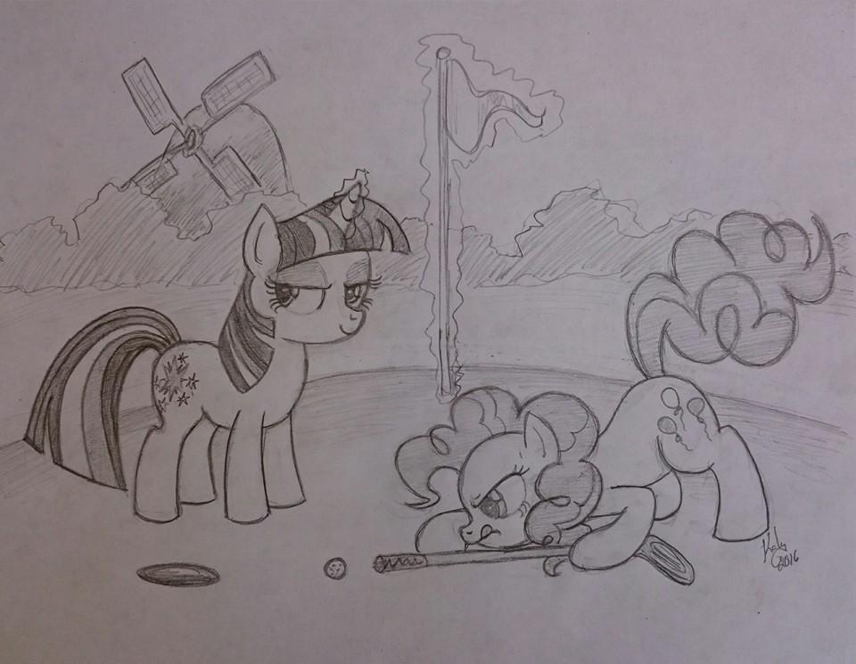 sketch fun - Twilight and Pinkie play mini golf by Kalyandra