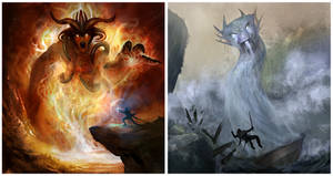 Fire and Water Elementals