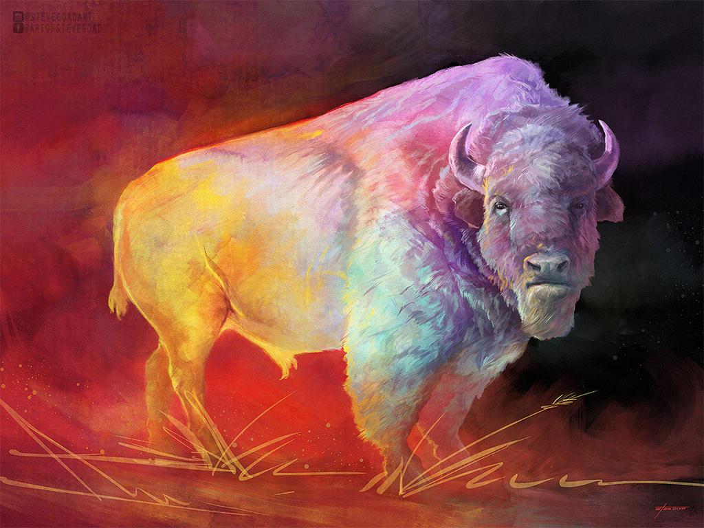 Colorful Buffalo Art - The Drifter by stevegoad