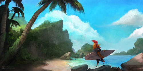 Goad Gear - Surfing Rooster by stevegoad