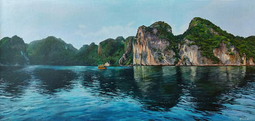 Halong Bay Vietnam - Acrylic Painting by stevegoad