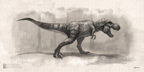 T-Rex Drawing by stevegoad