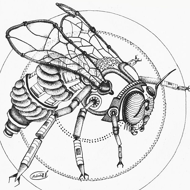 Steampunk bee by malvadali on deviantart Blippi coloring book animals machines