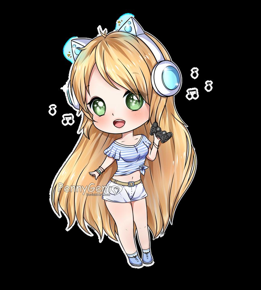 Cute gamer girl drawing