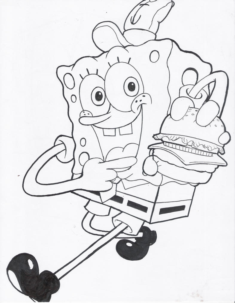 spongebob krabby patty coloring pages - photo#11