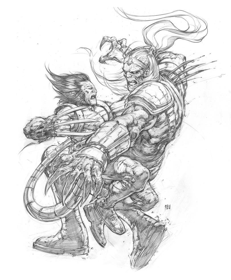 Wolverine vs Omega Red by keucha