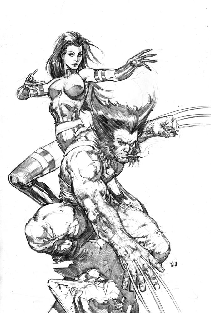 Wolvie and Psylocke by keucha