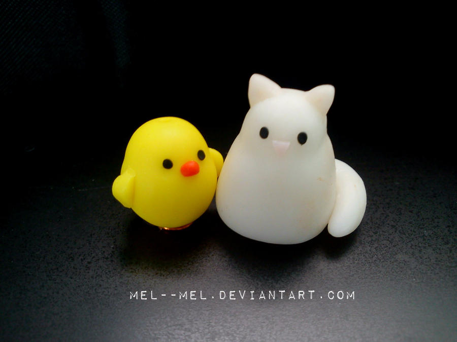 little chicken and cat by mel--mel