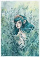 Green Mermaid by ARiA-Illustration