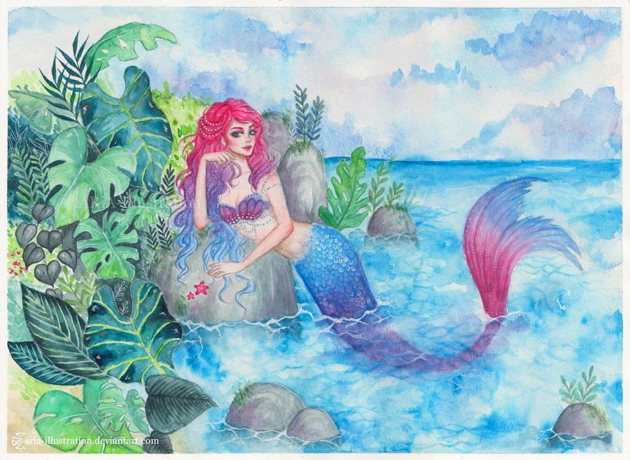 Mermaid Lagoon by ARiA-Illustration
