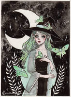 Day7 Inktober- Luna moth witch by ARiA-Illustration
