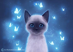 Siamese kitten by ARiA-Illustration