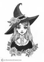 Lolita Witch- Day 1. Inktober18 by ARiA-Illustration
