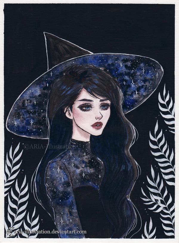 Blue galaxy witch- Day 10 Inktober18