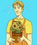 Grimmer working at a florist shop