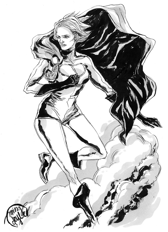 Grayscale Power Girl by mysteryming