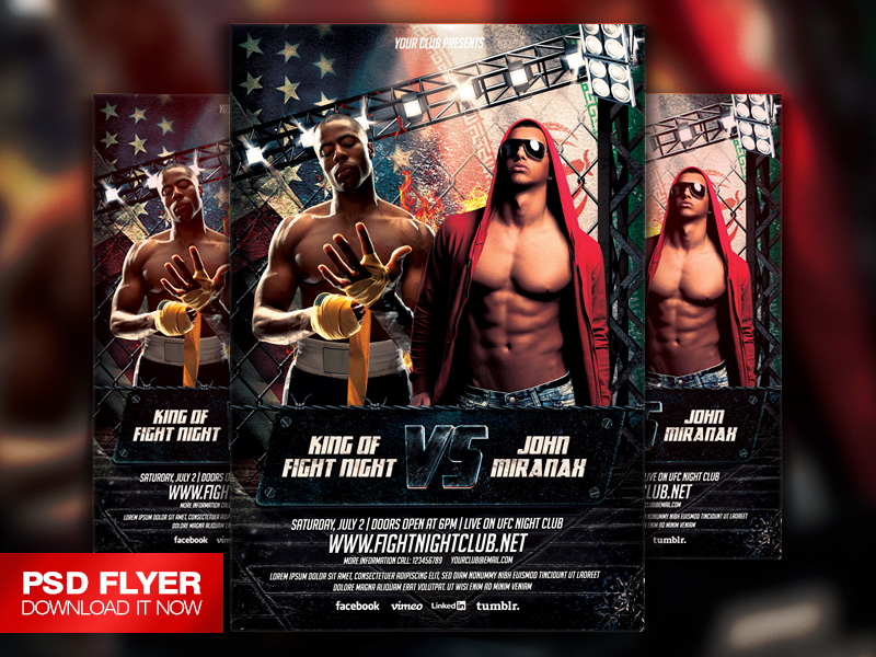 MMA UFC Boxing Showdown Flyer Template PSD by ArtMiraNAX on – Showdown Flyer Template