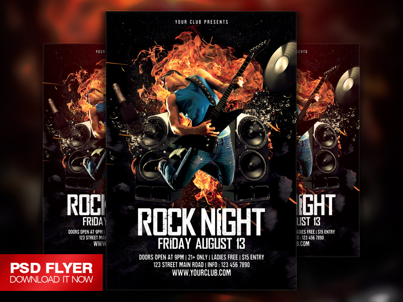 Rock Music Party Flyer Template Psd By Art Miranax On Deviantart