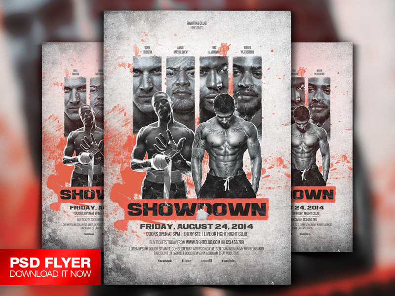 Showdown Fighting Club Flyer Template Psd By ArtMiranax On Deviantart