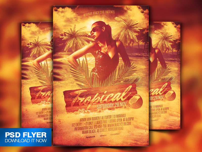 Tropical Beach Party Flyer Template Psd By Art-Miranax On Deviantart
