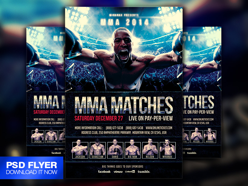 Mma Ufc Boxing Fight Flyer Template Psd By ArtMiranax On Deviantart