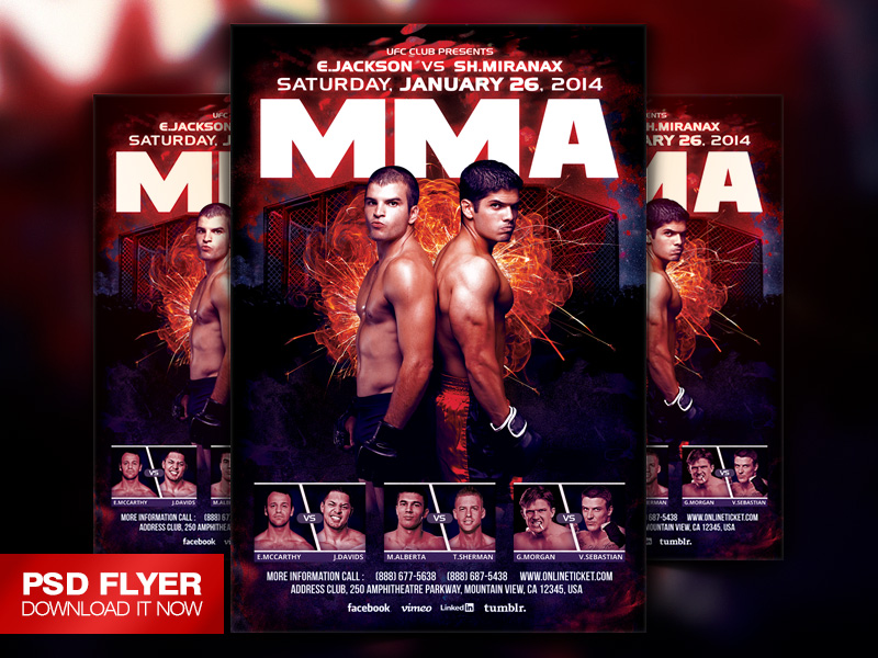MMA Boxing Showdown Fighting Flyer Template PSD by ArtMiraNAX – Ufc Flyer Template