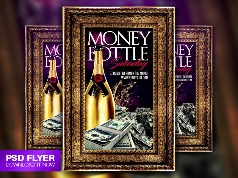 money and bottle party flyer template psd by art miranax on deviantart. Black Bedroom Furniture Sets. Home Design Ideas