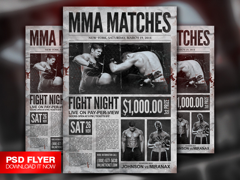 Mma Boxing Showdown Old Newspaper Template Psd By Art Miranax On