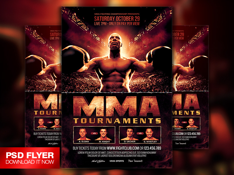 Mma  Boxing Fight Cinematic Flyer Template Psd By ArtMiranax On