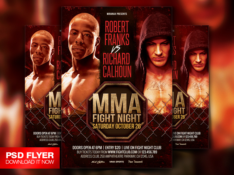Mma - Boxing Fight Night Showdown Flyer Template By Art-Miranax On