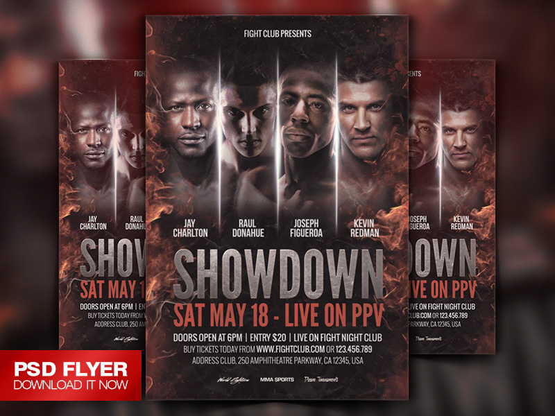 Showdown Fight Night Psd Flyer Template By Art-Miranax On Deviantart