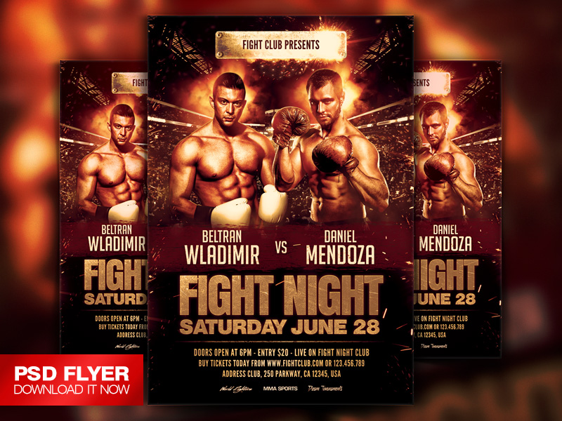 MMA UFC Boxing Showdown Flyer Template PSD by ArtMiraNAX on – Ufc Flyer Template