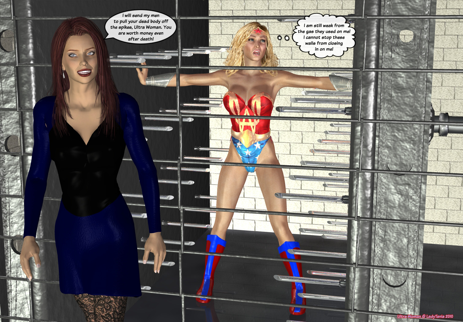 Superheroines trapped