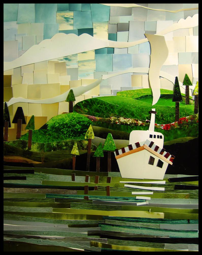 Пейзаж из бумаги на стену