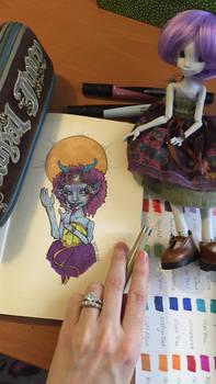 Neela doll markers portrait