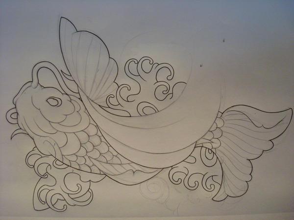 The rising koi outline by samthedrawer on deviantart for Koi fish outline