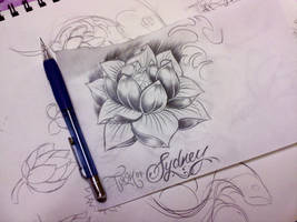 water lily tattoo sketch by samthedrawer